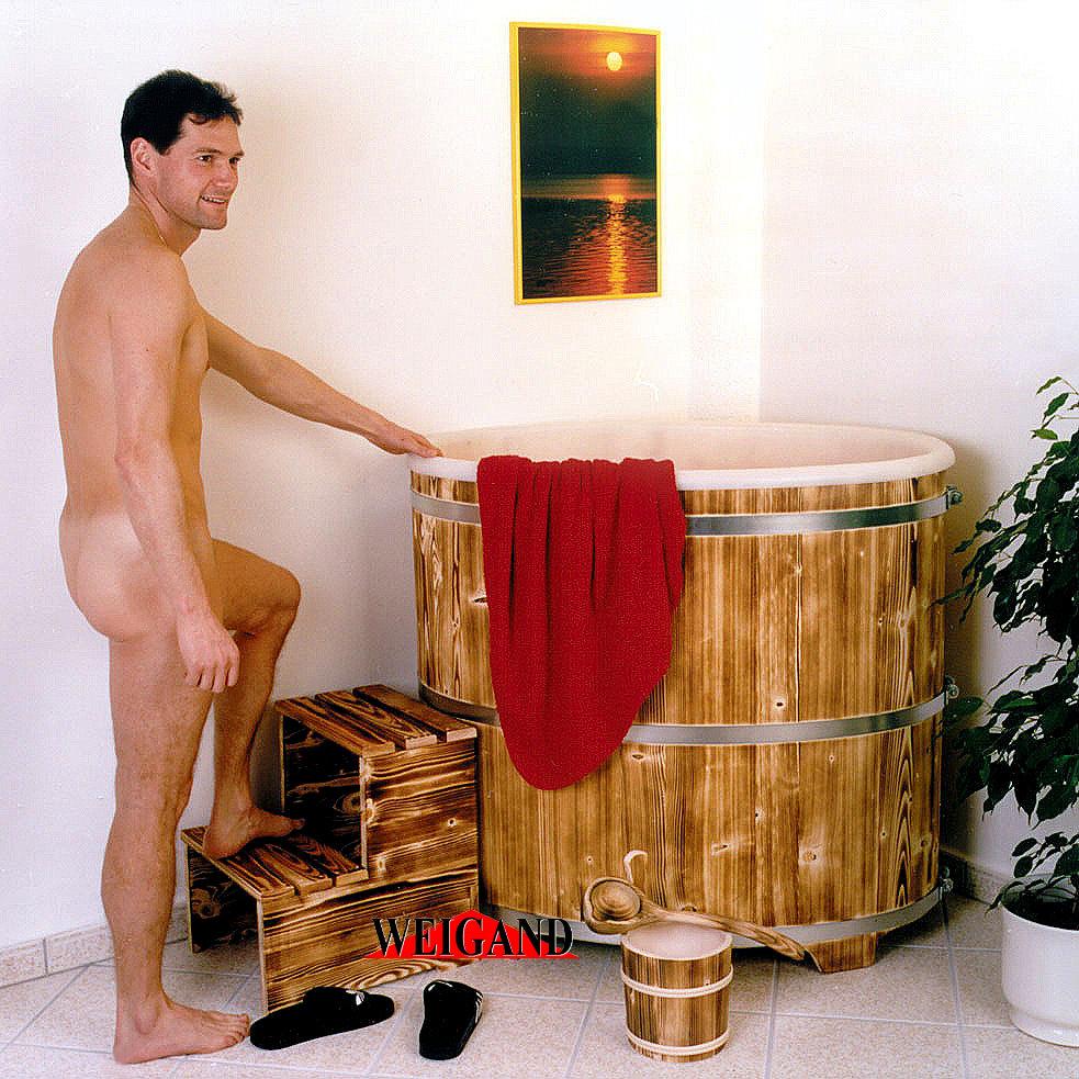 Sauna Tauchbecken Fichte I außen geflammt - innen Kunststoffeinsatz mit Deckel