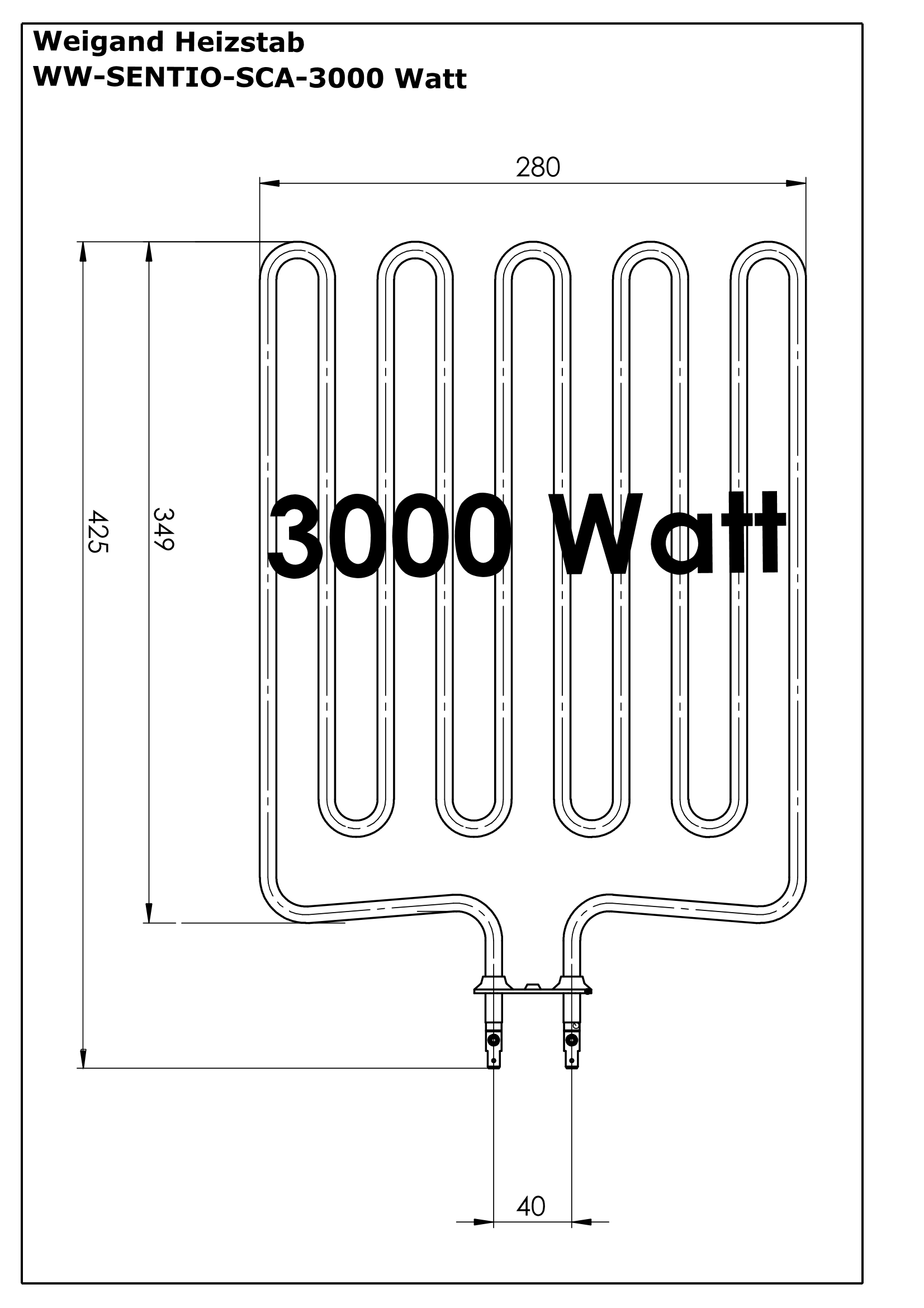 Heizstab Edelstahl 3000 Watt SCA