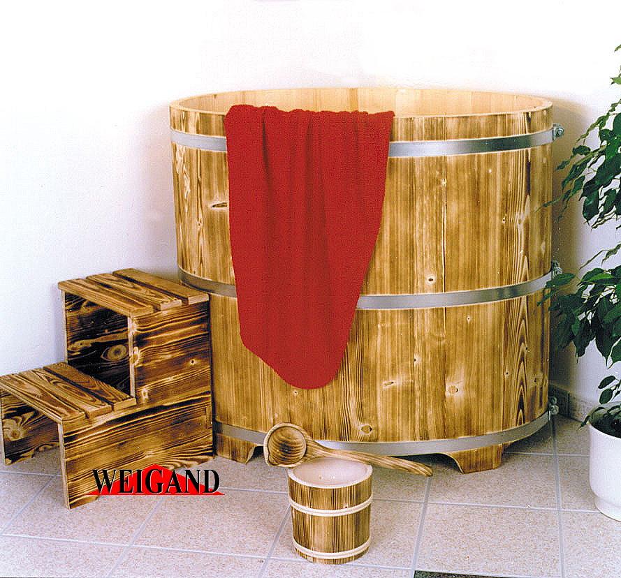 Sauna Tauchbecken Fichte I außen geflammt - innen farblose Beschichtung