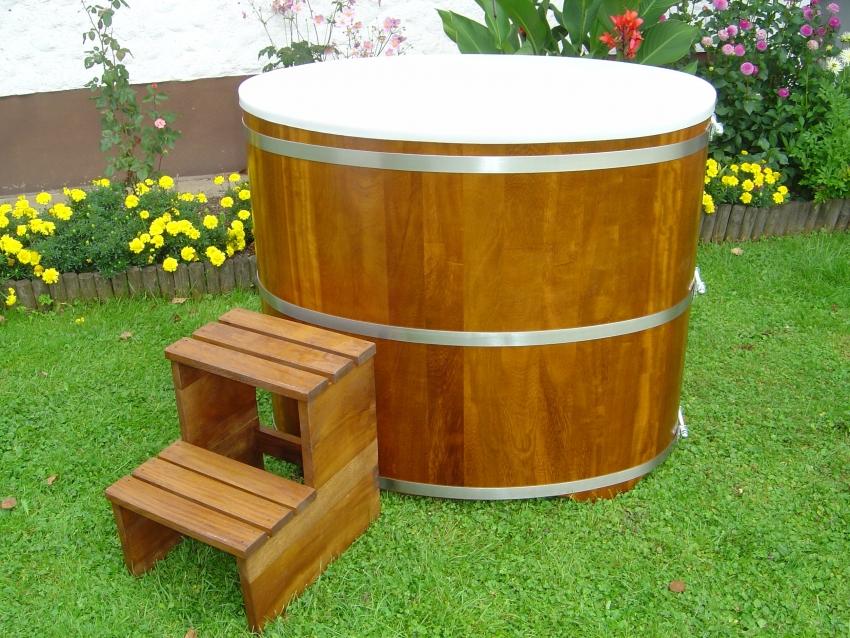 Sauna Tauchbecken Kambala I außen farblos beschichtet - innen Kunststoffeinsatz mit Deckel