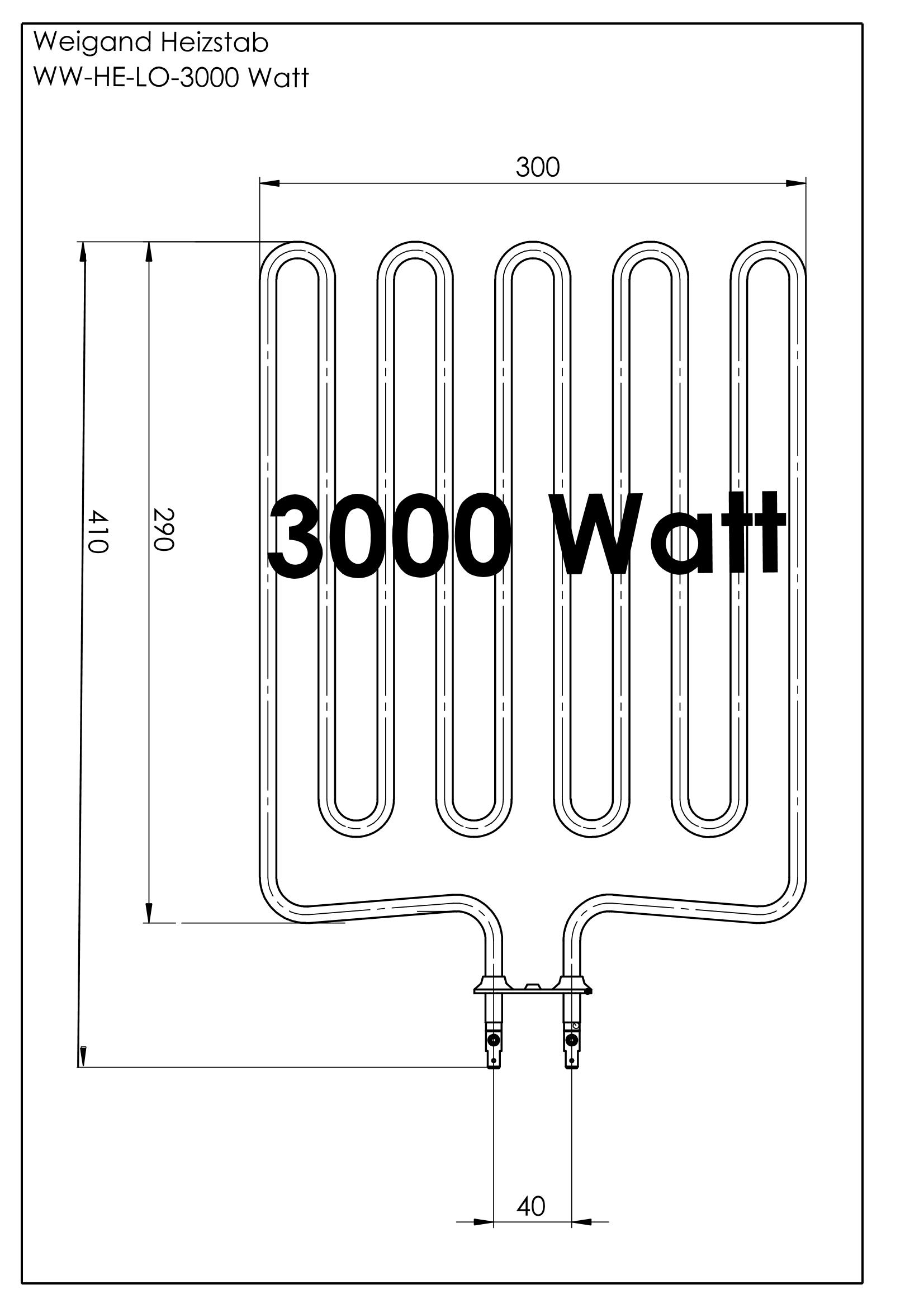 Heizstab Edelstahl 3000 Watt