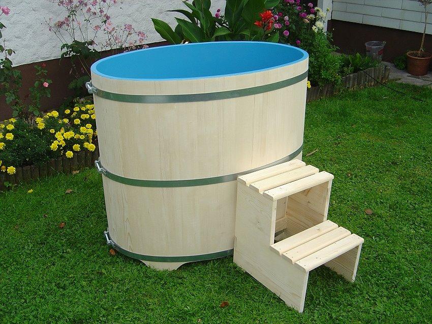 Sauna Tauchbecken Fichte I außen natur - innen blau beschichtet