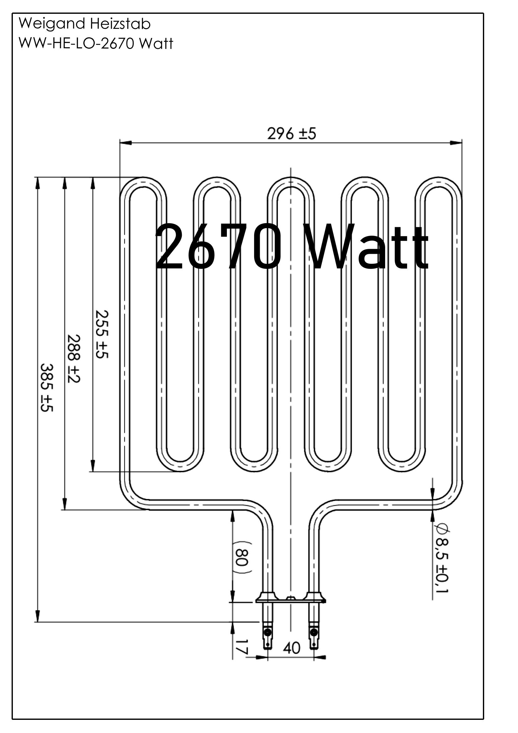 Heizstab Edelstahl 2670 Watt